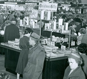 A large display of coffee table books displayed in Pontypool, Monmouthshire (Gwynedd) in 1955