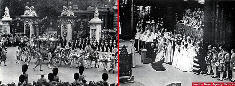 The Queen leaves Buckingham Palace for Westminster Abbey en-route for the Coronation (left) and The Moderator of the General Assembly of the Church of Scotland presenting the Holy Bible to the Queen (right). Images courtesy of the London News Agency, reproduced from the New Bond magazine.