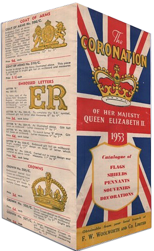 This four page brochure detailing Woolworths' range of Coronation items was distributed free to customers in the Spring of 1953
