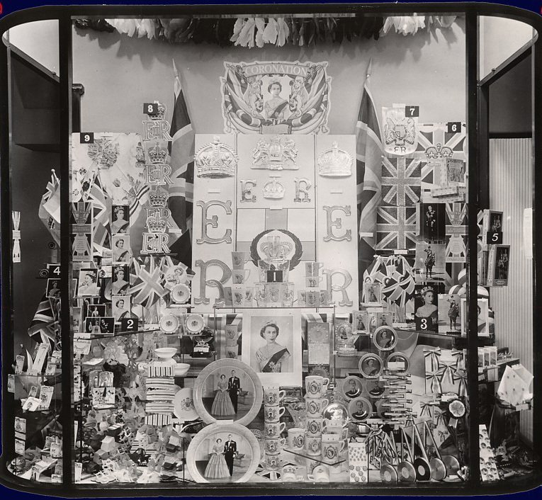 1953 Coronation Window display at Woolworth's, featuring everything needed for a street party or a home celebration.