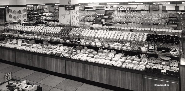 A long view of the large displays of crockery in the rebuilt Woolworths at Coventry, with Enid Seeney's iconic black and white Homemaker design clearly in evidence