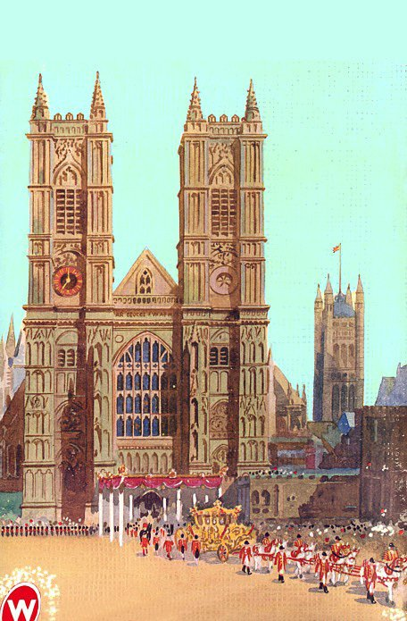 The Golden Coach (royal landau) outside Westminster Abbey, adapted from the back cover of the Coronation Edition of the Woolworths New Bond magazine