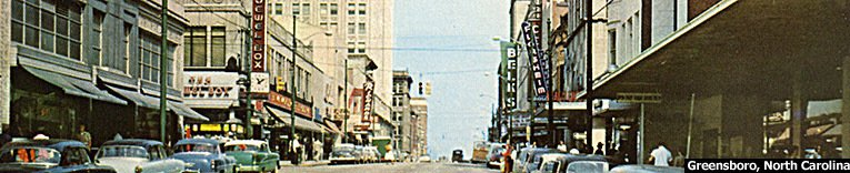Greensboro, North Carolina pictured in around 1960. The F. W. Woolworth store is on the left of the picture
