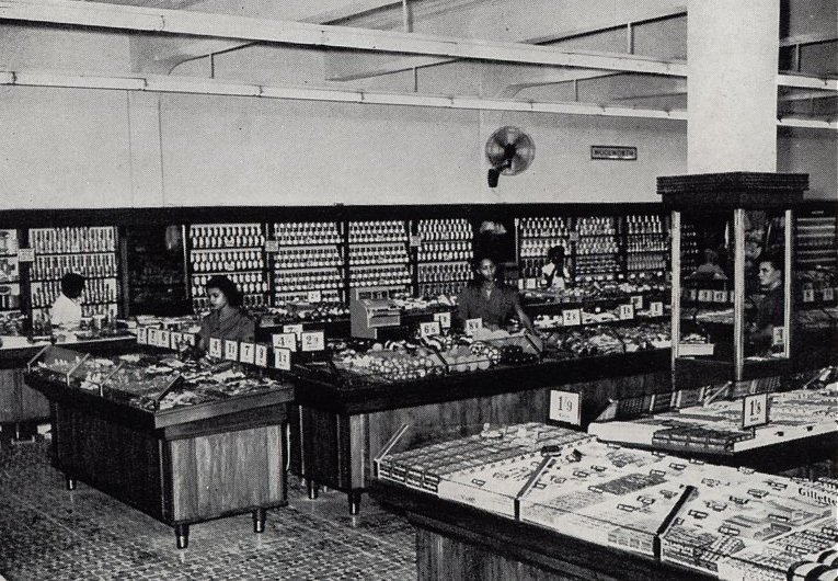 The salesfloor of the first Woolworths in Jamaica (located in King Street, Kingston) just before opening in November 1954