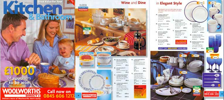 Kitchen and Bathroom Woolworths Direct Catalogue from the year 2000, which included an extended range of China and Glass, which was available for Home Delivery, some years before the Big Red Book