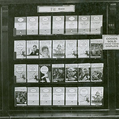 Penguin and other paperback books in-store in 1950. At one shilling and sixpence the price had trebled over a ten year period.