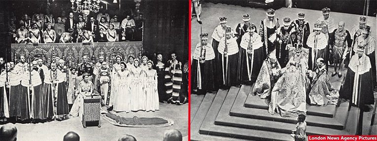 The Queen with the Maids of Honour and the Peers at Westminster Abbey during the Coronation (left) and Her Majesty the Queen after the Crowning Ceremony, wears St. Edward's Crown, and the Bishops pay homage (right). Pictures courtesy of the London News Agency, drawn from the Woolworth New Bond house magazine.