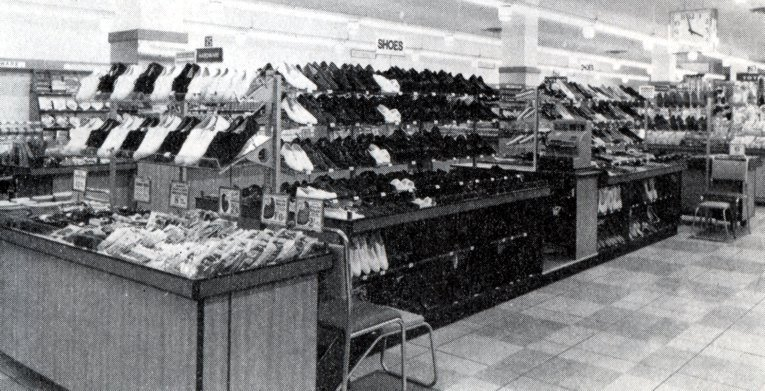 The Shoe Counter in the Salisbury, Rhodesia Woolworths in 1958.  (Today Harare in Zimbabwe)