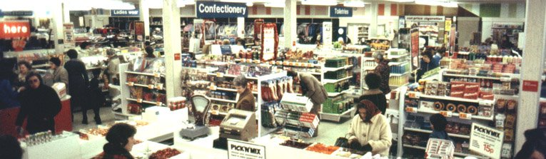 The salesfloor of Woolworth's in Southend-on-Sea, Essex, pictured after modernisation in 1977