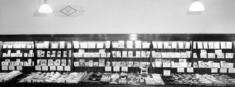A display of greeting cards on stylish new counters in the first Woolworth store to open after World War II in Weybridge, Surrey in 1946