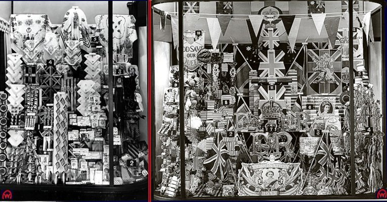 The Queen's Coronation in 1953 was the inspiration for these spectacular windows at the British Woolworths. Everything from flags and bunting to china plates and collectables, all at great value prices.