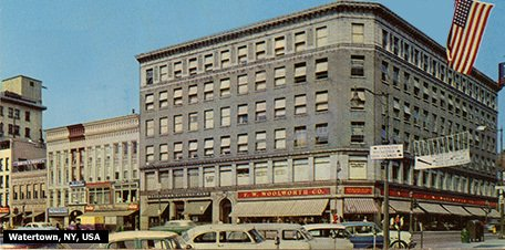 The Woolworths Head Office Building in the USA, on the site of the original Five and Ten Cent store in Watertown, New York.  Watertown hosted the Company's annual general meeting from 1879 until the mid 1980s