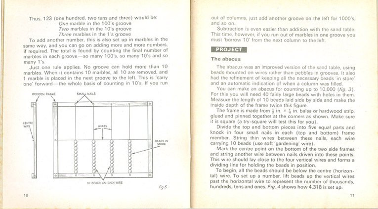 The principles behind an abacus - considered essential training for would-be computer builders in the 1970s