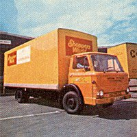 One of the fleet of rigid lorries operated for Shoppers World by National Carriers Ltd, pictured in 1975