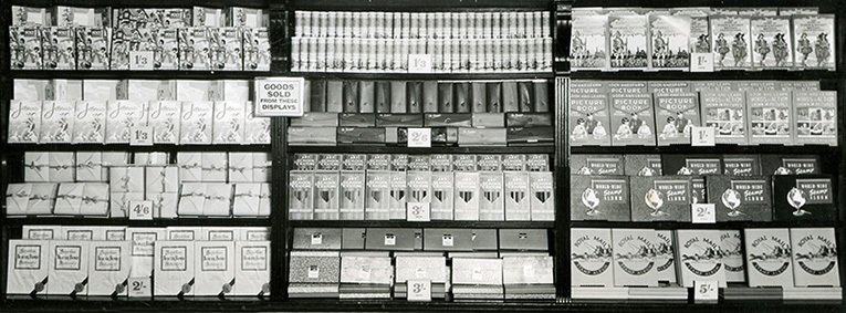 A wall display of stationery at Woolworth's in 1955
