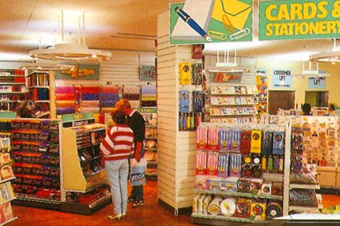 Brightly coloured new-look displays of cards and stationery in an 'Operation Focus' comparison store in 1987
