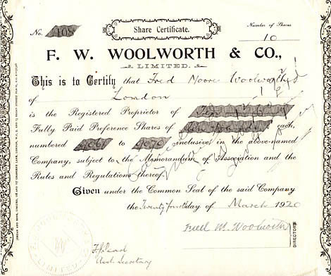 An original Preference Share Certificate for F. W. Woolworth & Co. Limited, made out to the first Managing Director Fred Moore Woolworth in 1920