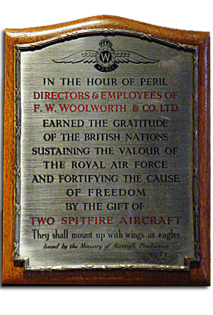 A commemorative plaque, awarded by the Ministry of Aircraft Production to Woolworths Directors and Colleagues in 1940 for their role in the Battle of Britain