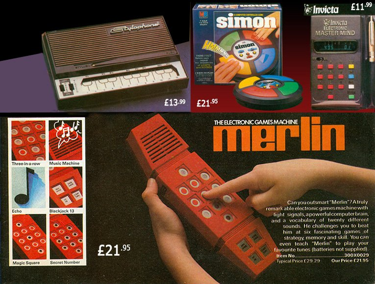 Merlin, the electronic games machine, was a smash hit in 1979, along with the Stylophone and new electronic toys from Milton Bradley and Invicta Toys. Many of the items were four times more expensive than a Board Game of the era at over £20.