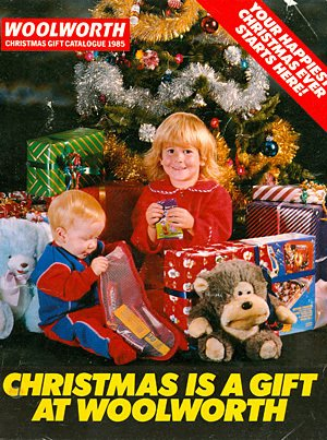 Woolworth Christmas Catalogue from 1985, featuring a girl wearing a Dressing Gown from the new Ladybird Range.  This was the last Catalogue to be branded Woolworth - by 1986 an 'S' had been added to the brand name to make the more recent 'WOOLWORTHS' logotype.