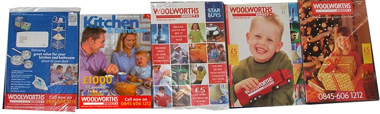 Brighter, bolder catalogues from Woolworths Direct in 1999