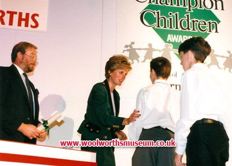 HRH The Princess of Wales presents the Barnado's Champion Children Awards 1993, sponsored by Woolworths