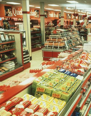 The General Convenience section in Woolworths Bedford, which became a prototype for the chain's short-lived Cornerstone Strategy. The picture is from 1984.