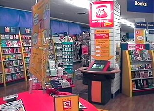 Touch screen kiosks were installed into 12 stores on test, using a design from ICL (Fujitsu) and applications from ICL Multimedia Services and St Clair Interactive of Canada