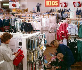 Ladybird Clothing on sale at the prototype Woolworths Comparison store at Gallowtree Gate in 1986