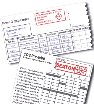 Manual ordering forms used at Woolworths before computerisation (Top: Form 3 Slip Order 1909-1977, Bottom: Central Ordering System (COS) Pre-Print 1977-1987)