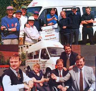 Ronnie Corbett and Tim Brooke-Taylor were among the stars at a Woolies golf day when Jim Spittle, Distribution Director and one of the firm's amateur sportsmen, handed over the keys to a new Sunshine Coach, which was subsequently presented to the Shankhill Arts Centre in Belfast (Summer 1997)