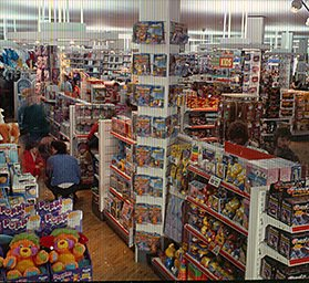 Toy displays in a large, modern Woolworths store in the 1980s