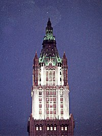 The spire of the Woolworth Building illuminated in the night sky of New York for the first time in forty years in May 1986