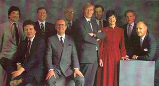 The 1986 Board of Woolworths (Jonathan Weeks - Distribution, Mike Sommers - Marketing, Richard Harker - Retail, Colin Brown - Commercial, Don Rose - HR, Geoffrey Mulcahy (Chairman), David Defty - Finance, Mair Barnes - Commercial, Chris French - Systems, Roger Jones - Property and Administration)