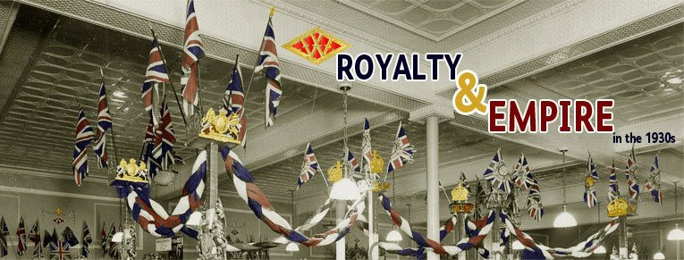 Royalty and Empire in the 1930s - F. W. Woolworth style. Flags, buntings and crests in abundance on the salesfloor of the Calverley Road, Tunbridge Wells store