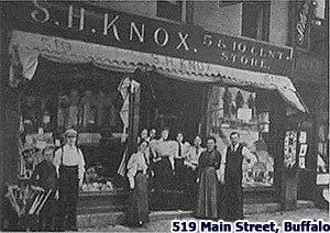 Intended to be the second Knox store in Main Street, Buffalo, the premises at No. 519 became a temporary headquarters after the original store was lost in the Wonderland Building fire.