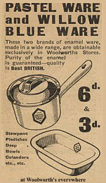 Newspaper advertisement from the 1930s for Woolworths' enamel saucepans