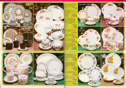 A double page spread from the Autumn 1978 Woolworth Shoppers World catalogue, which shows some of the range of china tea and breakfast sets that were available for between £10 and £30