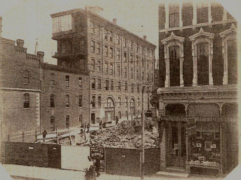 Site preparations for Frank Woolworth's first skyscraper in Lancaster, Pennsylvania, USA.  Sute acquisitiion and clearance started in the 1890s