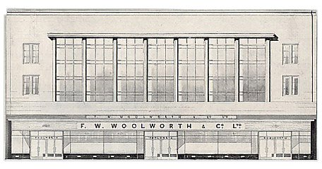 "The architect's drawing for a ""new, modern"" Woolworth's in South Shields. A similar design was used for the branches in Bristol, Southsea, Portsmouth and Norwich"