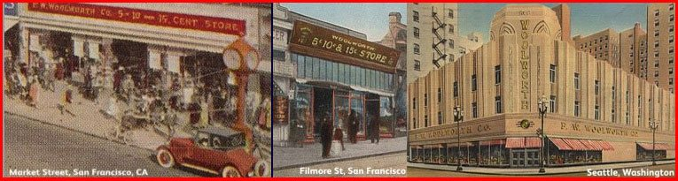 The Woolworth 5, 10 and 15¢ stores in Market Street (left) and Filmore Street (centre), San Francisco and Seattle, Washington, pictured in around 1930