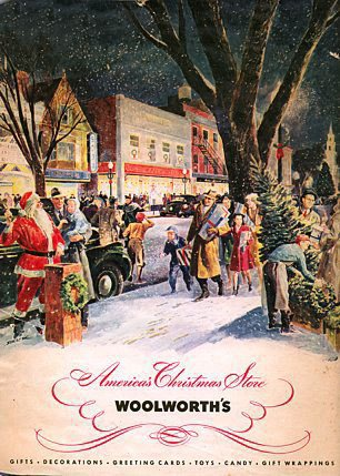 The first Christmas catalogue produced by the American Woolworths, which dates from November 1940. The upbeat homely style seems a million miles away from the austerity of Britain in the Blitz