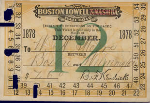 A railroad ticket made out to W H Moore, dated December 1878