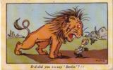 The Lion roars 'D-d-did you s-s-say Berlin'?!! in this patriotic British postcard from World War I