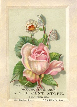 A rare business trading card for the Woolworth and Knox Five and Ten Cent store in Reading, Pennsylvania, USA