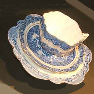 Willow cups, saucers and teaplates were among the first items that Frank Woolworth bought direct from the English Potteries of Stoke-on-Trent and Hanley, Staffordshire