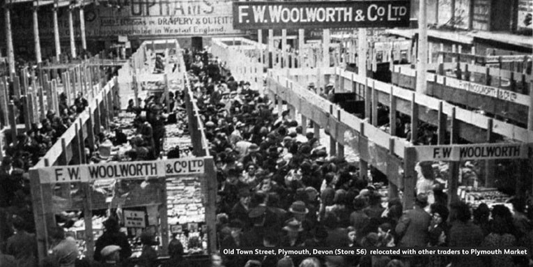 Woolworths in Plymouth joined other retailers in re-opening in the local market after Old Town Street was wiped out by bombing raids night after night in 1941.