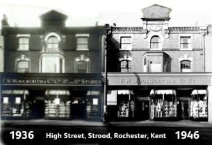 The changing face of Woolworth's in Strood, Rochester, Kent between 1936 and 1946. References to the threepenny and sixpenny stores have started to disappear (although the transom signs above the door remain seven years after the top limit was scrapped).