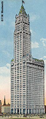 The Woolworth Building (the world's tallest from 1912-1929) housed the Company's principal office.  (Image with very special thanks to Mr Fred Woolworth)