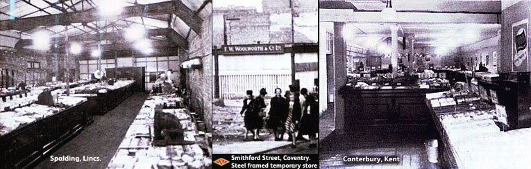 Left: a temporary store at Spalding demonstrates the simple re-roof and re-open theory. Centre: the steel-framed emergency premises in Coventry stood in the crater left by the destruction of the well-appointed store in Smithford Steet. Right: When the Canterbury store wad destroyed a new one was improvised in a warehouse nearby.